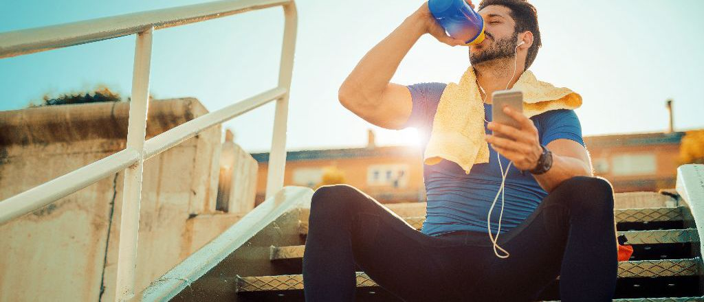 Drink water and eat something within 30 minutes of exercise to replenish energy stores in muscles and prevent muscles from breaking down further.