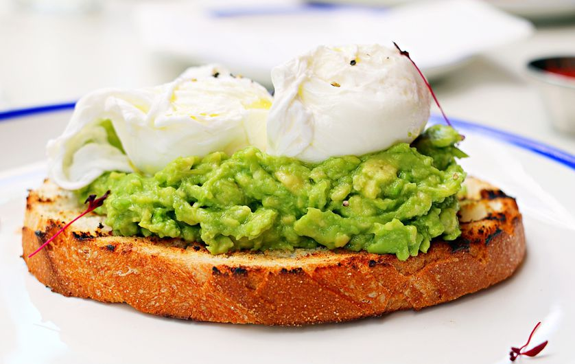 Avocados are full of healthy fats and fiber, plus the protein in the eggs helps with muscle recovery.