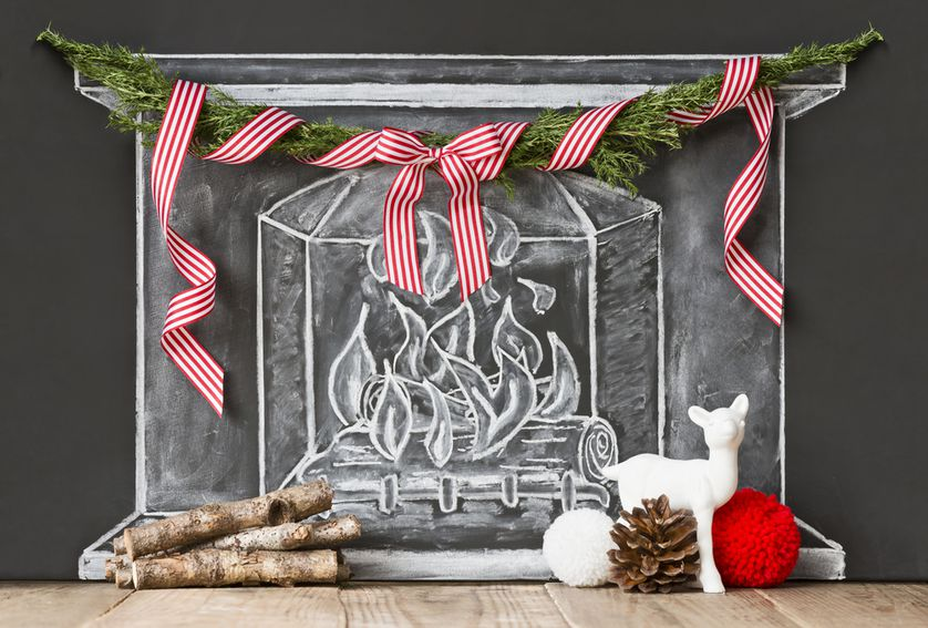 Make your own chalkboard fireplace