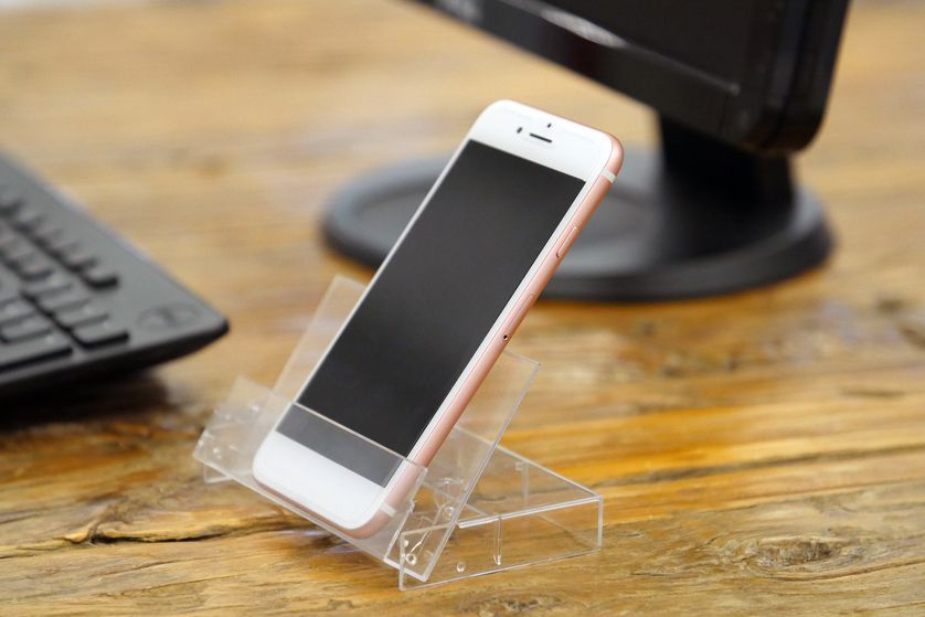 An old cassette case makes an instant phone stand.