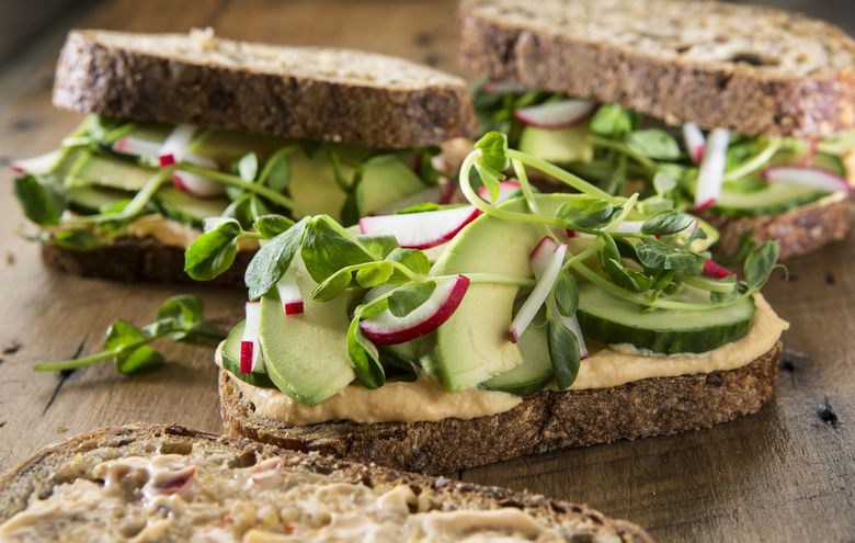 Veggie sandwich with hummus