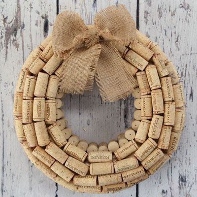 If you collect old wine corks, put them together in a holiday wreath.