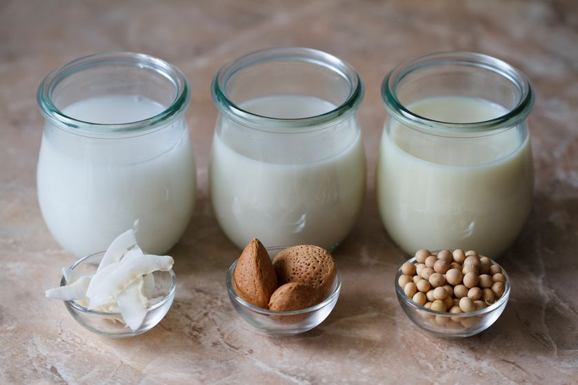 Coconut milk, almond milk, and soy milk