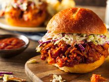 Pulled jackfruit sandwich with coleslaw and barbecue sauce