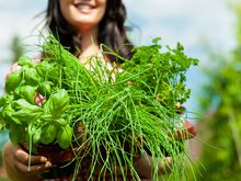 Woman smiling with herbs