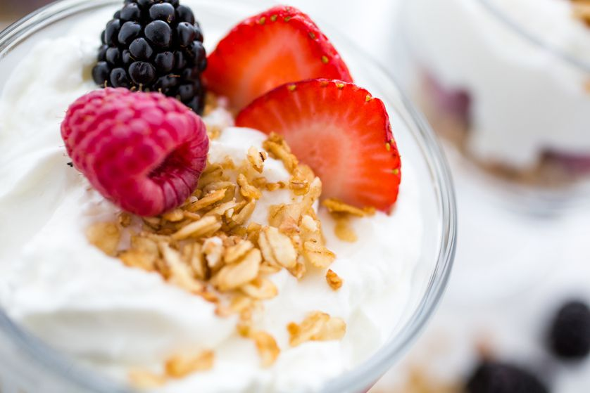 Jazz up Greek yogurt with honey, oats, nuts, pumpkin seeds, or fresh fruit for a delicious nutritional boost.