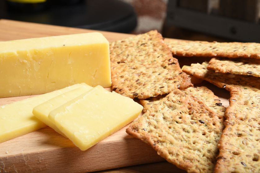 Cheese on wheat crackers can be a great protein-filled snack in 1- or 2-ounce portions.