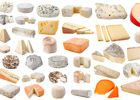 Various kinds of cheeses on white background.
