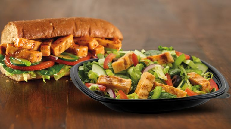 Subway Sweet Onion Chicken Teriyaki sub and salad