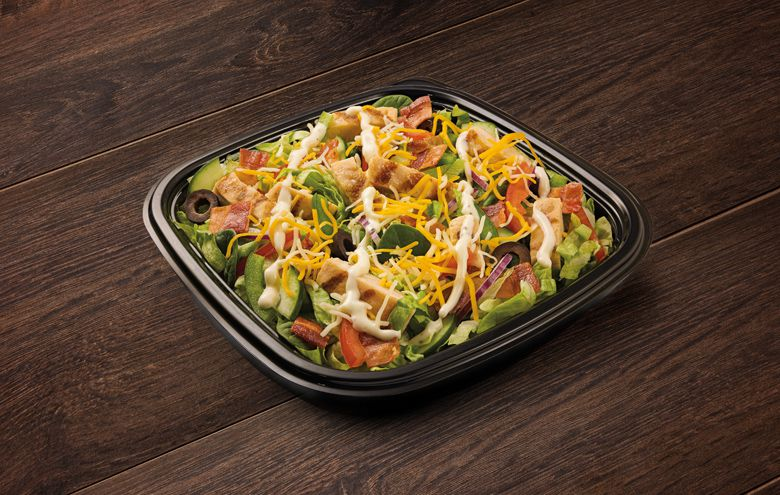 A Subway Chicken & Bacon Ranch Salad is a hearty option with 32 grams of protein.