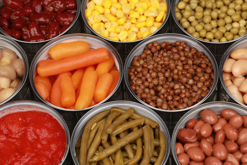 Canned goods are great, especially vegetables with low sodium or fruit in light syrup.