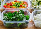 Chopped vegetables in containers