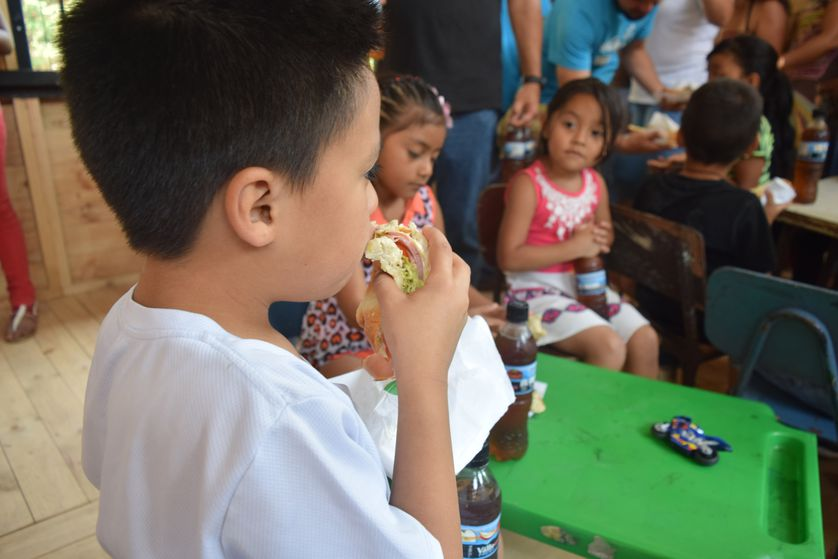 Children at a Subway-sponsored educational and dining facility in Guararí de Heredia, Costa Rica.