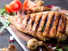 Grilled chicken breast with roasted veggies
