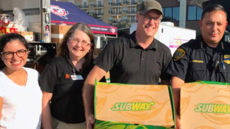 Subway Franchisees give back after Hurricane Harvey in Houston, Texas.