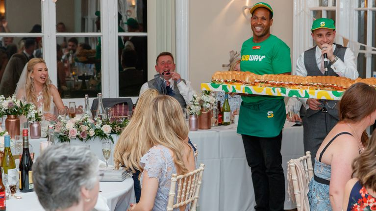 A groom had this Subway® Giant Sub delivered to his new bride at their wedding reception.