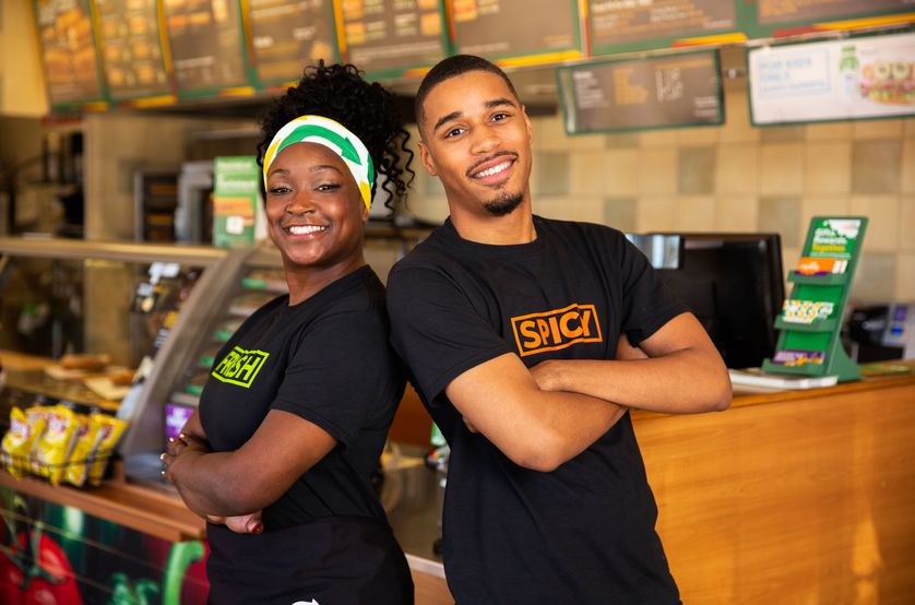 Subway Franchise Owner Kiesha Haggerty and her son in her Pinole, California, restaurant.