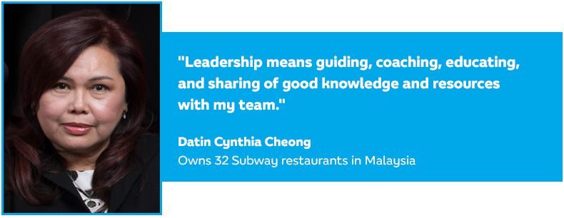 Quote from Cynthia Cheong, Subway Business Development Agent