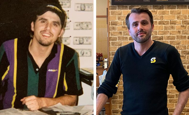 Alex early in his Subway® career (left) and now (right). Check out that uniform!