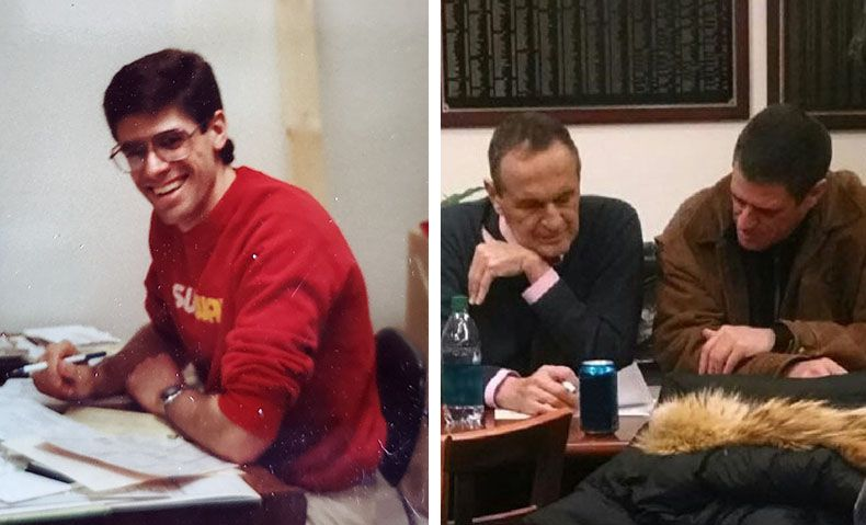 Mike doing paperwork at his first restaurant in Marshfield, WI in 1991 (left). Mike and founder, Fred DeLuca discussing future plans in 2015 (right).