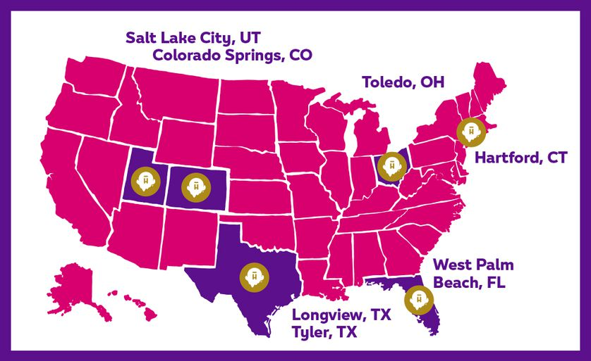 The hand-spun Halo Top® milkshakes will be available exclusively in nearly 1,000 Subway® restaurants in six test markets: Colorado Springs, Colorado; Hartford, Connecticut; Longview and Tyler, Texas; Salt Lake City, Utah; Toledo, Ohio; and West Palm Beach